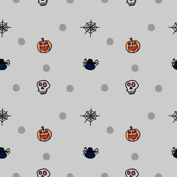 Halloween bat skull and spider cute seamless pattern Halloween bat skull and spider cute seamless pattern. vector illustration for fashion textile print and wrapping with festive design. tarantula stock illustrations