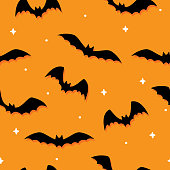 Vector illustration of black bats in a repeating pattern against an orange background.