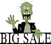 Vector illustration of a zombie on top of a BIG SALE sign.