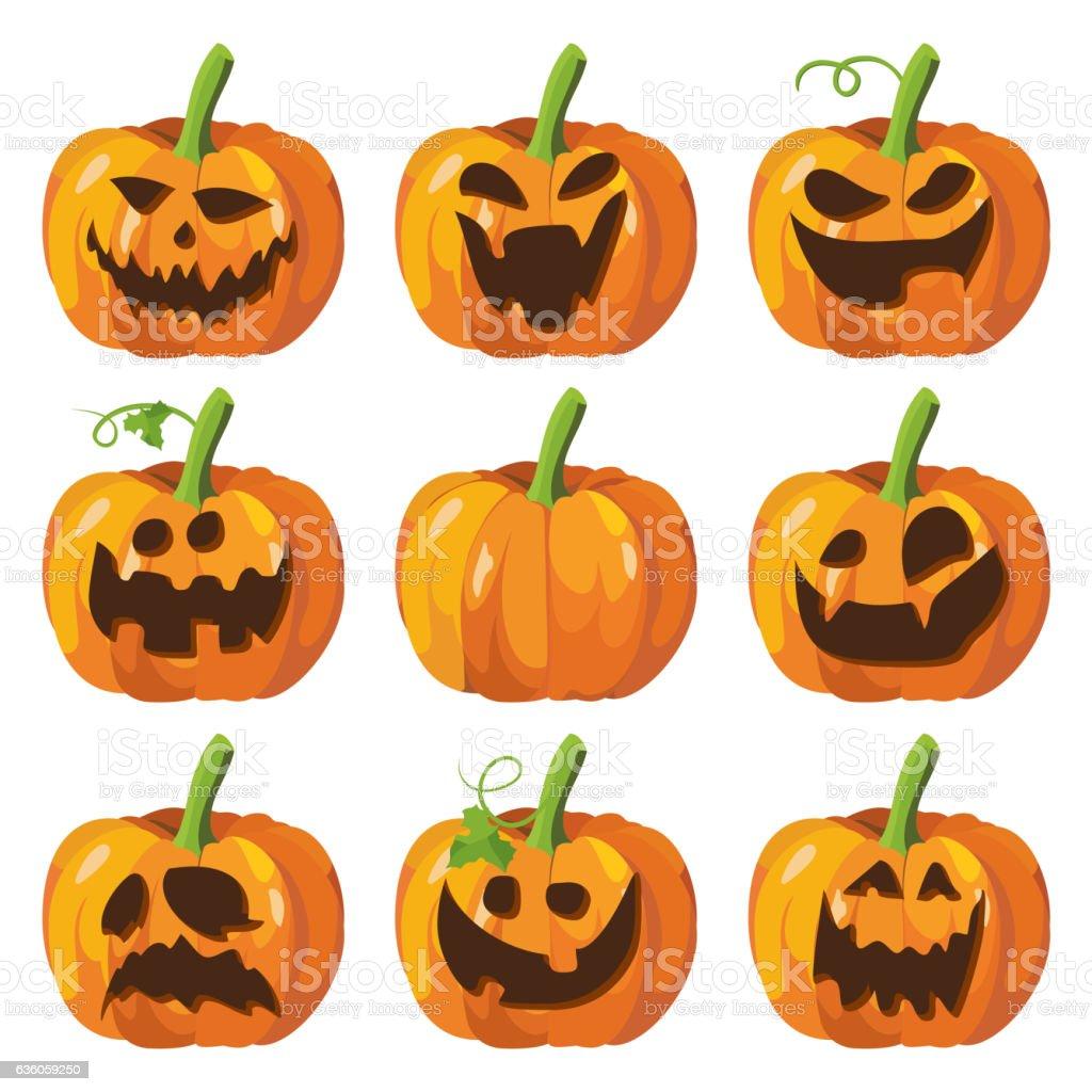 Halloween Big Set With Pumpkins 3d Pumpkin Face Vector Stock Illustration Download Image Now Istock