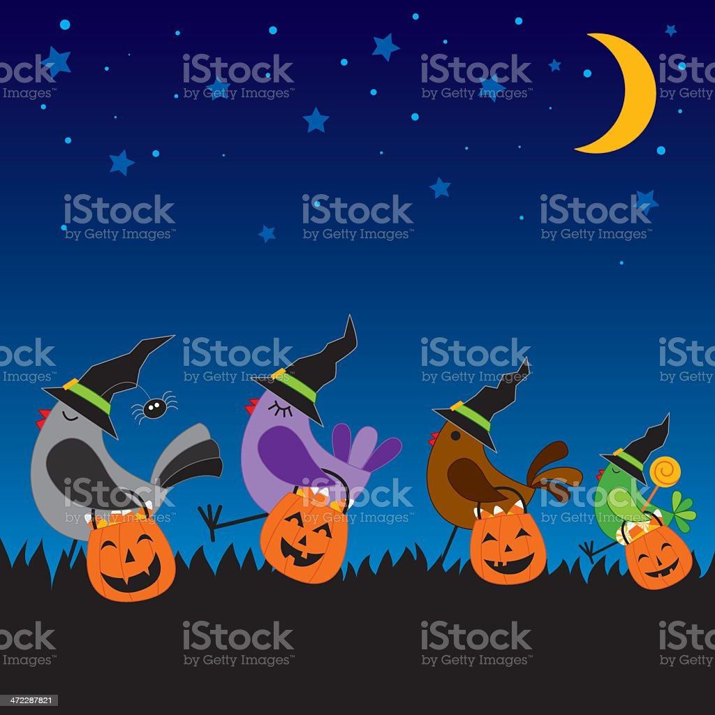 Halloween:  Birds going trick or treating royalty-free halloween birds going trick or treating stock vector art & more images of bird