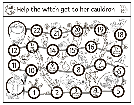 Halloween black and white board game for children with cute witch and scary animals. Educational boardgame with witch, broom, black cat, cauldron. Funny printable coloring page.