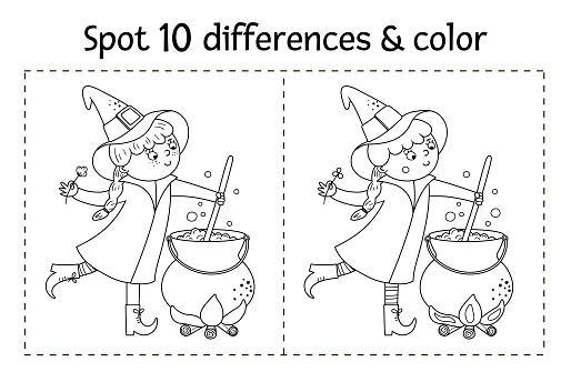 Halloween black and white find differences game for children. Autumn educational activity with funny witch, cauldron, cat. Printable worksheet or coloring page with smiling character.