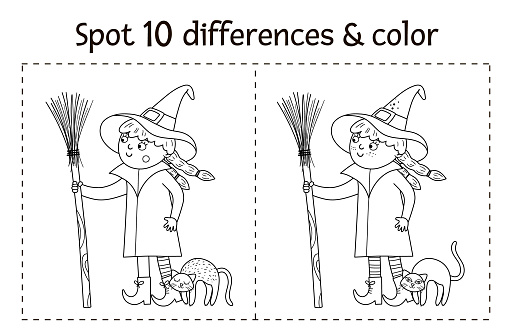 Halloween black and white find differences game for children. Autumn educational activity with funny witch, broom, cat. Printable worksheet or coloring page with smiling character.