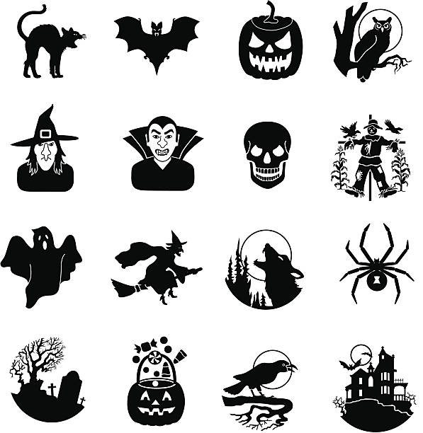 halloween black and white icons - black and white owl stock illustrations, clip art, cartoons, & icons