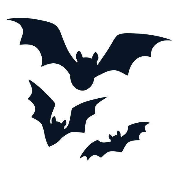halloween black bats flying silhouettes isolated on white. simple bat icon vector cartoon illustration. fall, halloween. wildlife design element. - bat stock illustrations