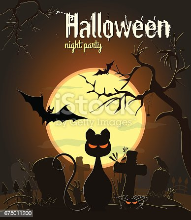 Halloween Black Cat And Other Characters Stock Vector Art & More Images of Abstract 675011200