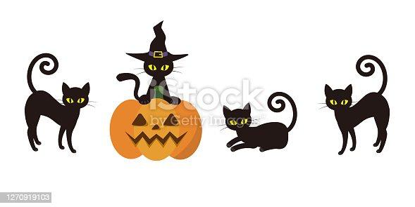 istock Halloween Black cat illustration 1270919103