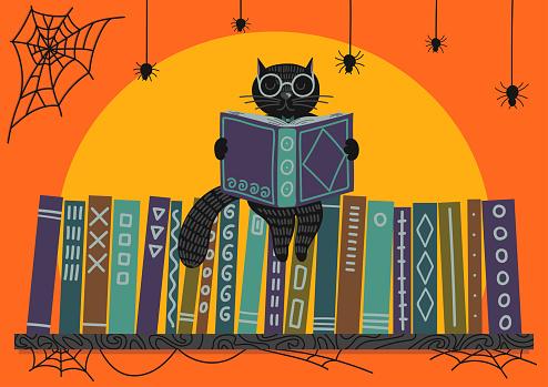 Halloween. Black cat reading book on bookshelf