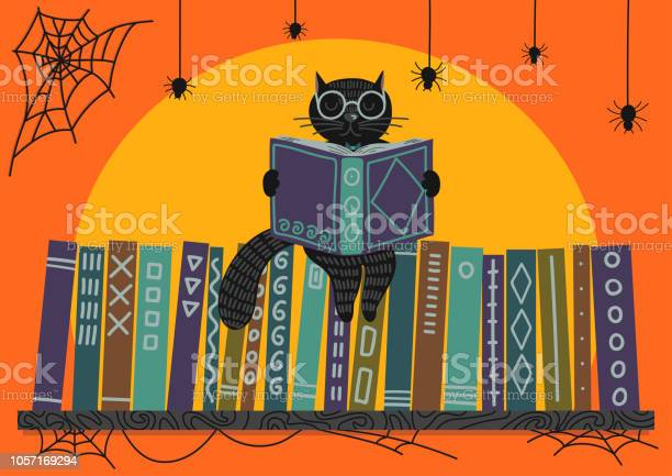 Halloween black cat reading book on bookshelf vector id1057169294?b=1&k=6&m=1057169294&s=612x612&h=cynr2evvdddvxr15nikitmbh3bhjfcpcqioyvacihds=