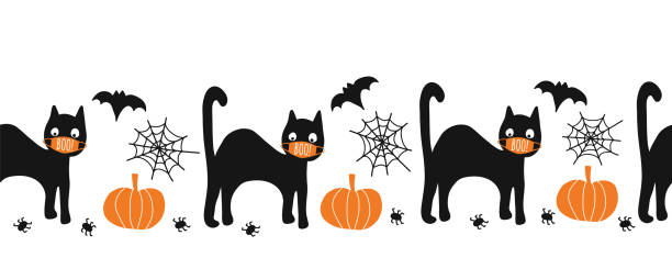 Halloween black cat wearing face mask seamless vector border. Coronaruvis Halloween 2020 Repeating pattern. Cute hand drawn kids illustration for fabric trim, cards, party invitations, footer, header Halloween black cat wearing face mask seamless vector border. Coronavirus Halloween 2020 Repeating pattern. Cute hand drawn kids illustration for fabric trim, cards, party invitations, footer, header halloween covid stock illustrations
