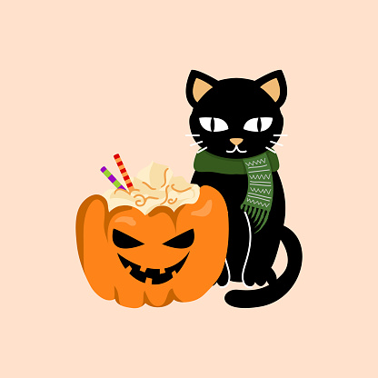 Halloween black cat with pumpkin latte.