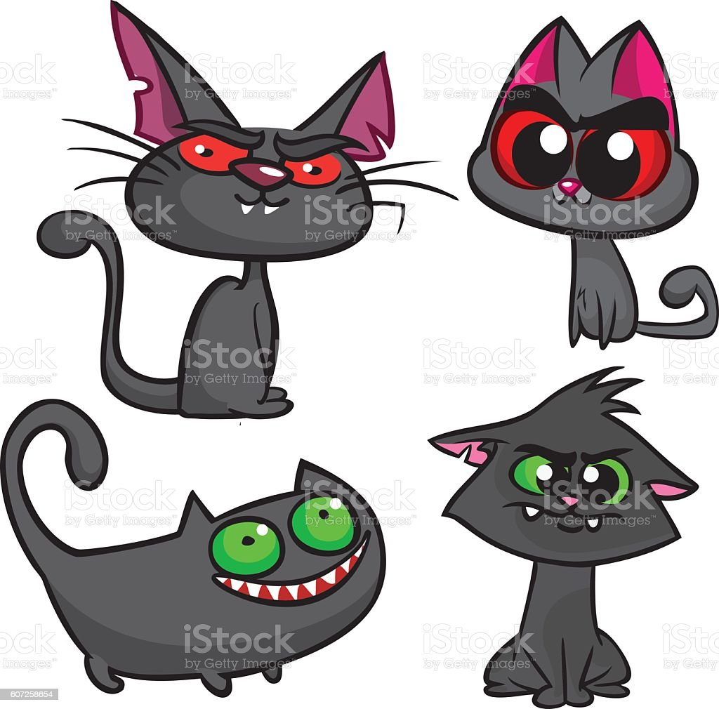 Halloween black cats set. Vector witch cats icons vector art illustration