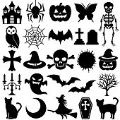 Halloween black icons.