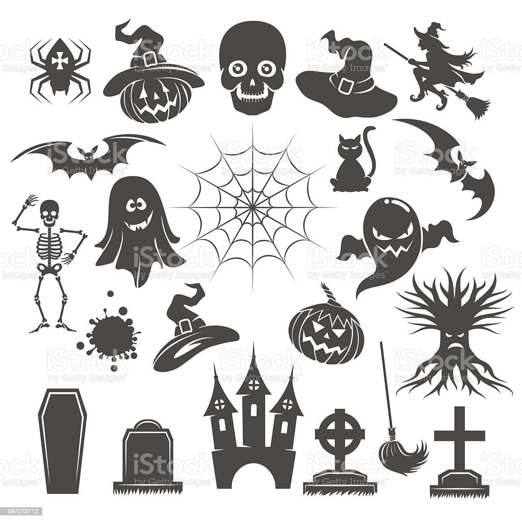 Halloween black icons royalty-free halloween black icons stock vector art & more images of art