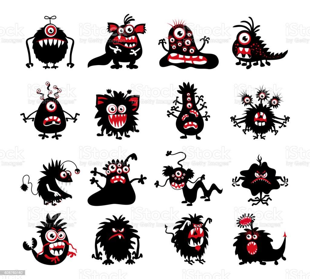 Halloween black monster silhouettes - ilustração de arte em vetor