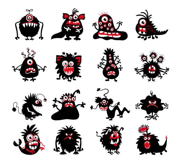 Halloween black monster silhouettes vector art illustration