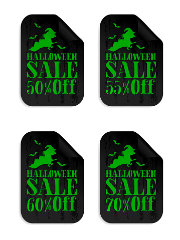 Halloween black sale stickers set with witch. Halloween sale 50%, 55%, 60%, 70% off