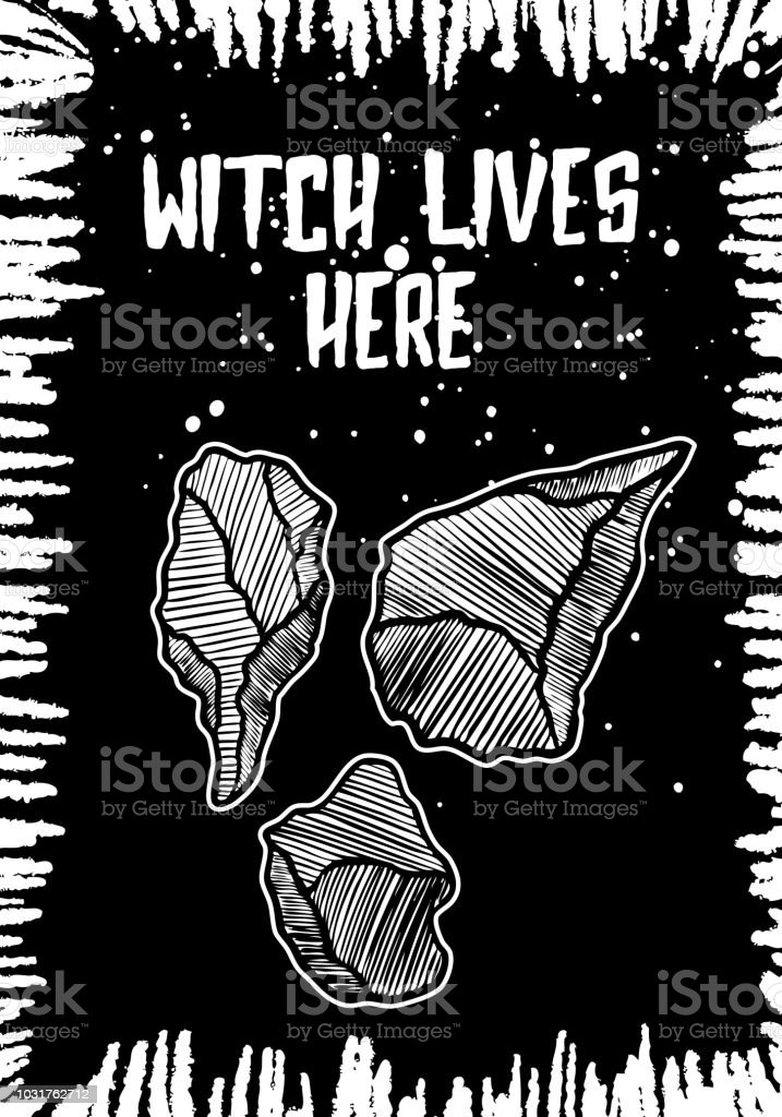 Halloween Black White Background Card With Creepy Drawing