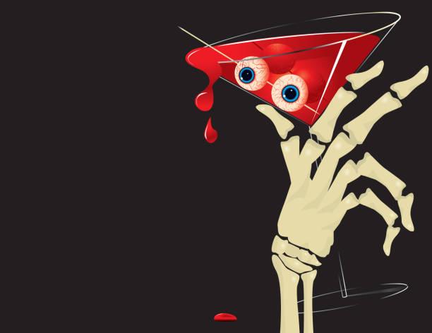 Halloween Blood Martini, hand skeleton, bloodshot eyes vector art illustration