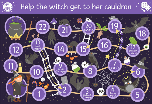Halloween board game for children with cute witch and scary animals. Educational boardgame with bat, broom, black cat, spider. Help the witch get to her cauldron. Funny printable activity.