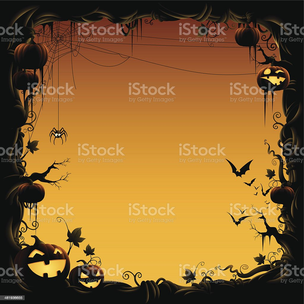Halloween Border Made Of Pumpkin Vine With Bats And Spider stock ...