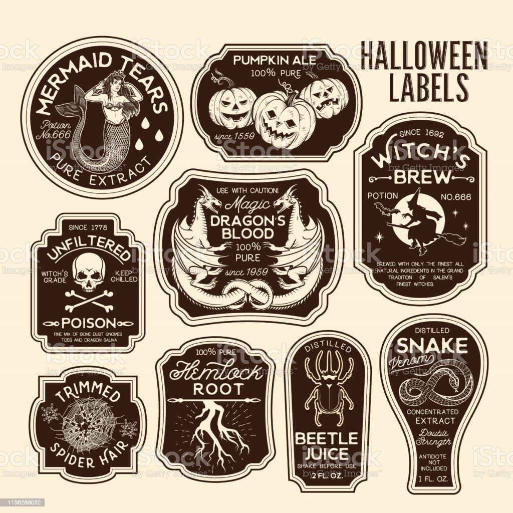 Halloween Bottle Labels Potion Labels.