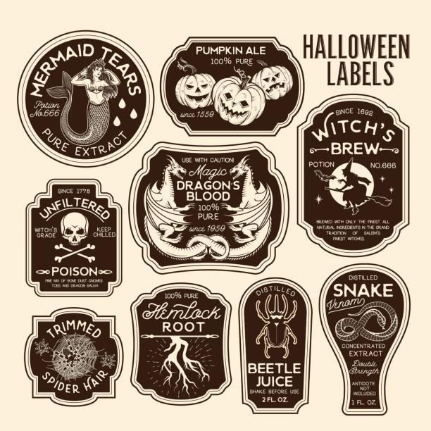 Halloween Bottle Labels Potion Labels. Vector Illustration. Halloween Bottle Labels Potion Labels. potion stock illustrations