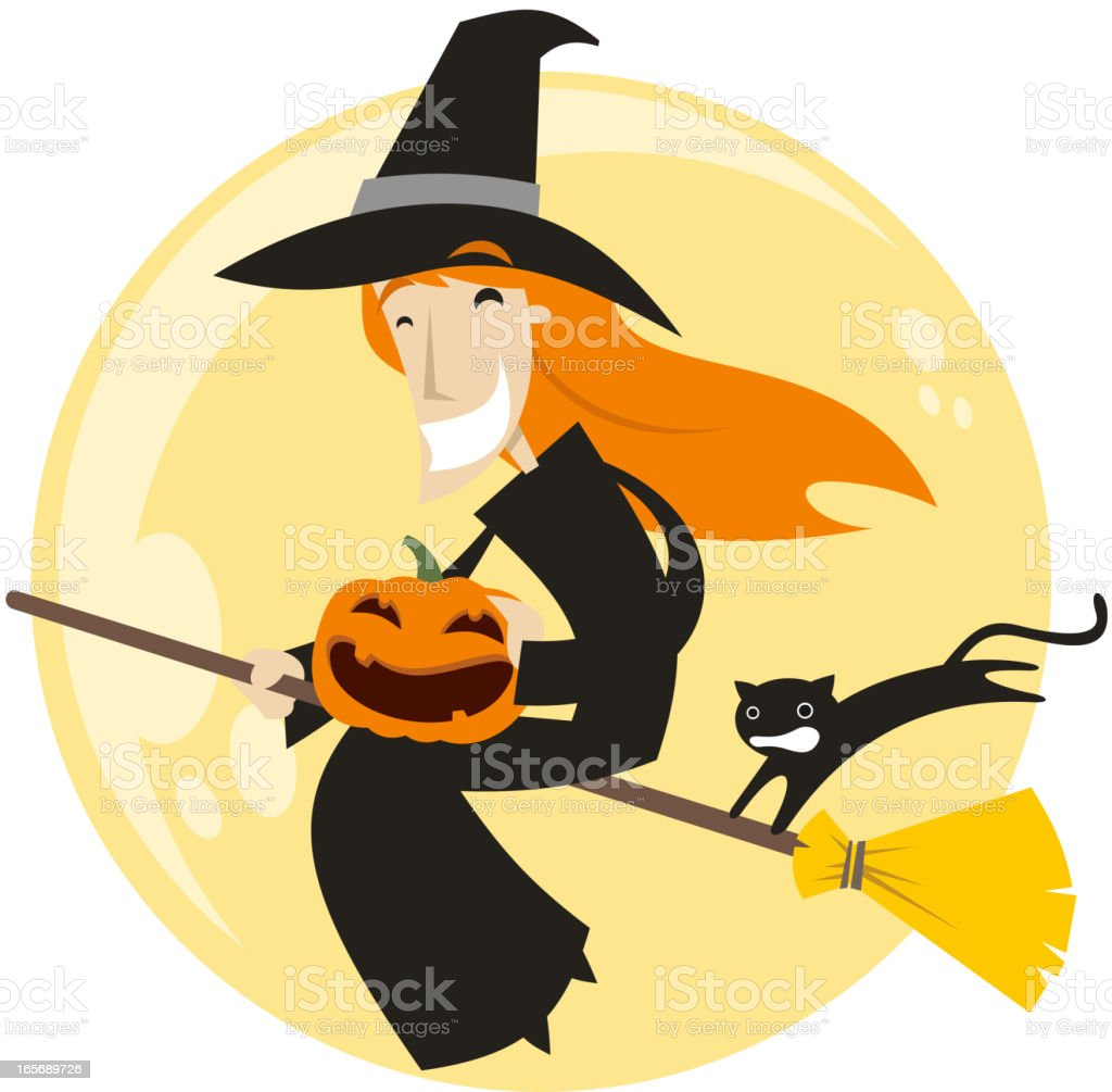 halloween broom flying witch hat with pumpkin and black cat royalty free halloween broom flying