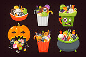 Halloween buckets of different shapes full of sweets, candies and desserts. Vector illustrations. Sweets are all separate icons.