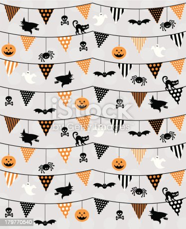 Bunting with Halloween characters in a pattern. With stripes & polka dots in orange & black colours. Cats, witches, spiders, bats & jack o lanterns. On a grey polka dot background.