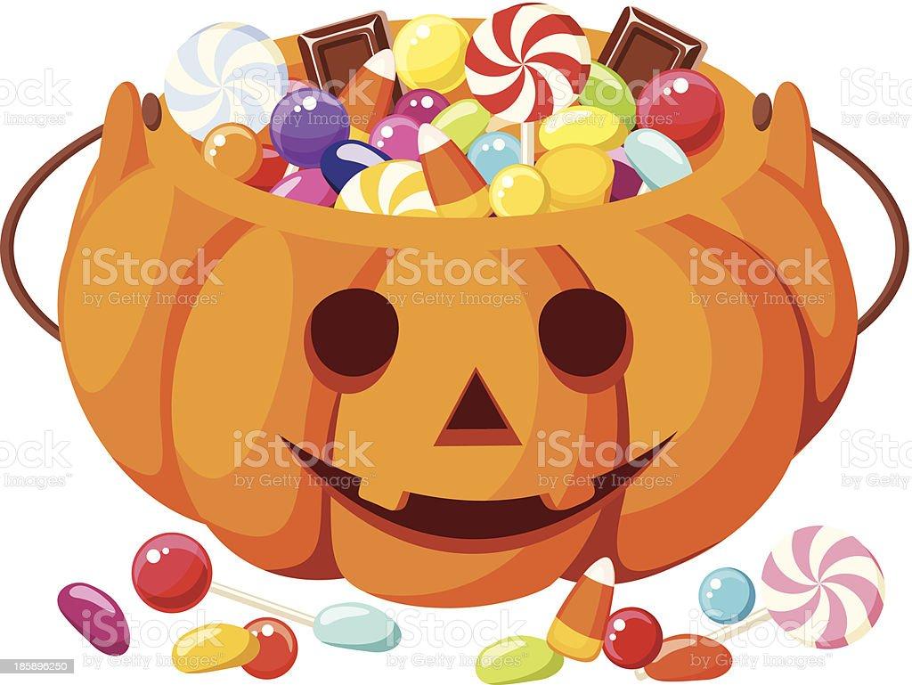 Halloween candies in Jack-O-Lantern bag. Vector illustration. vector art illustration