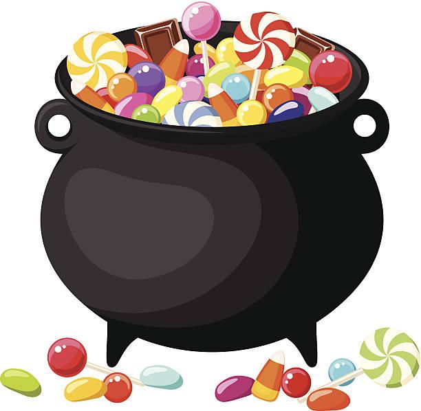 Halloween Süßigkeiten in Hexen, dass er kaum zu bremsen ist.  Vektor-illustration. – Vektorgrafik