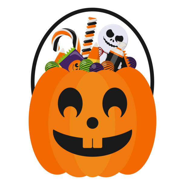 halloween candy bucket and candies - halloween candy stock illustrations
