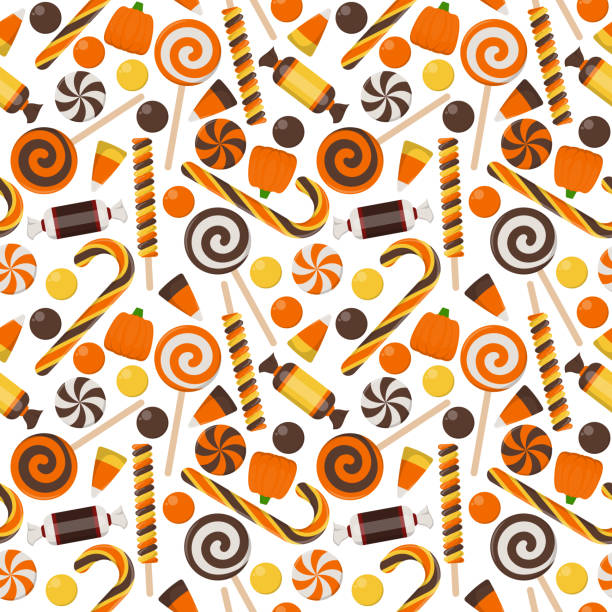 halloween candy seamless pattern - halloween candy stock illustrations