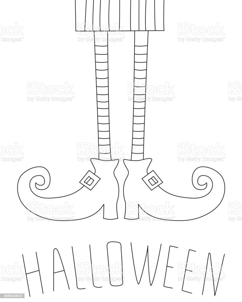 Diseño De Tarjeta De Halloween Con Piernas De Bruja Libro De ...