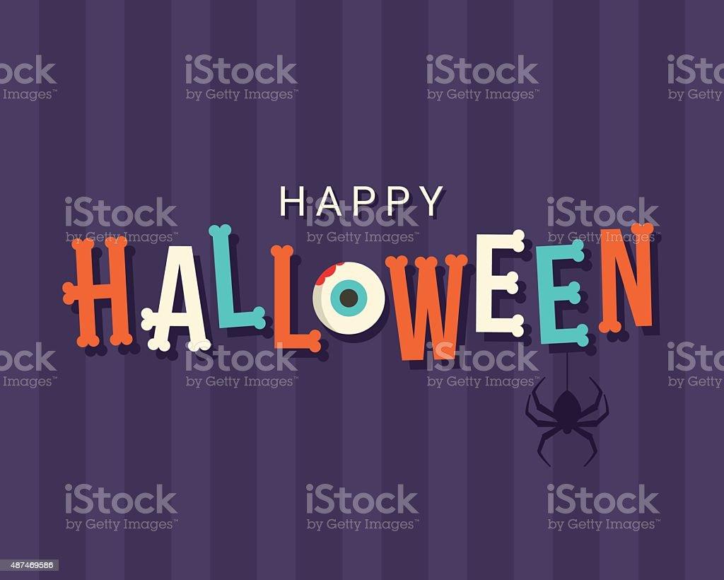 Halloween card, halloween logo title, bones font vector art illustration