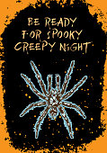 Halloween card of poison spider on black background and orange hand drawn frame with sparkles. Vector.