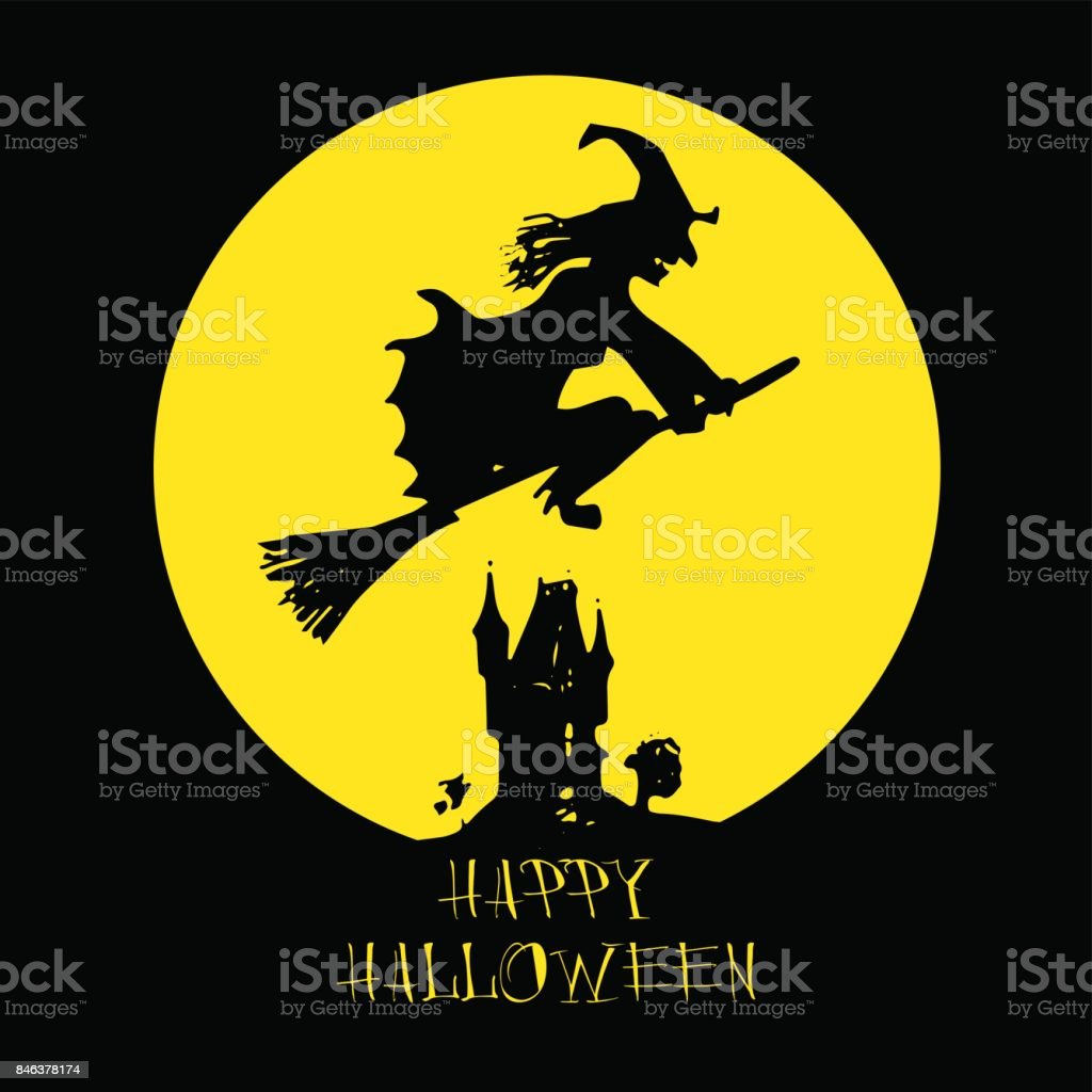 Halloween Card, Poster With Witch On Full Moon Background. Vector Hand  Written Happy Halloween