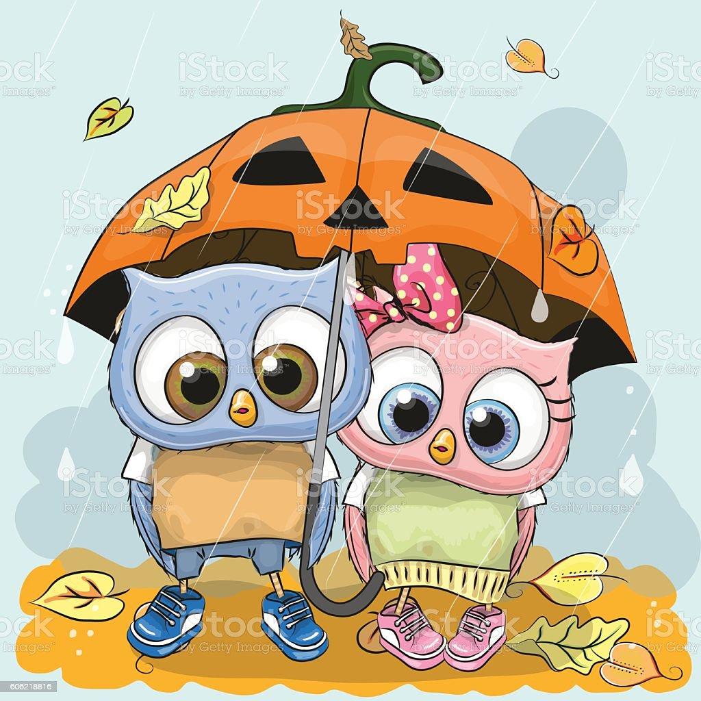 halloween card two cute cartoon owls stock vector art 606218816
