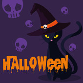 halloween card with black cat character vector illustration design