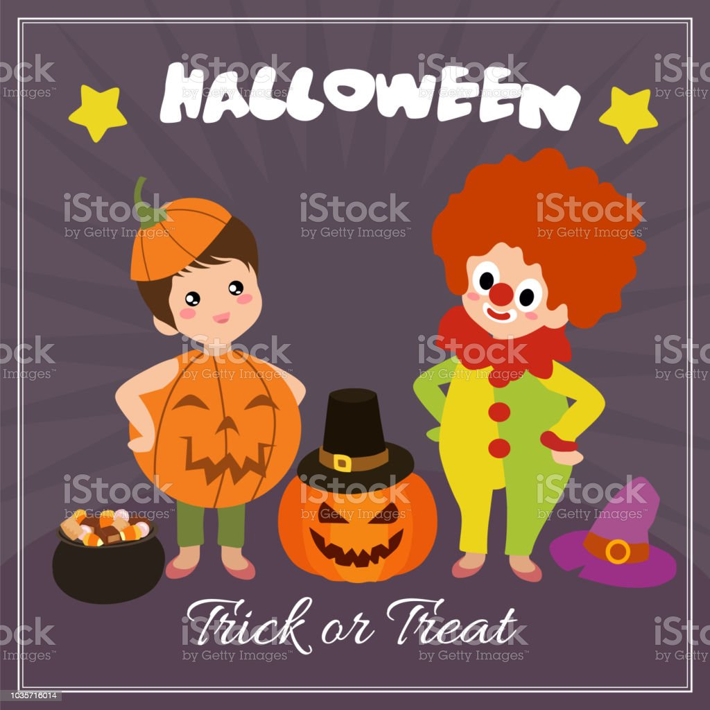 halloween card with clown characters stock vector art more images