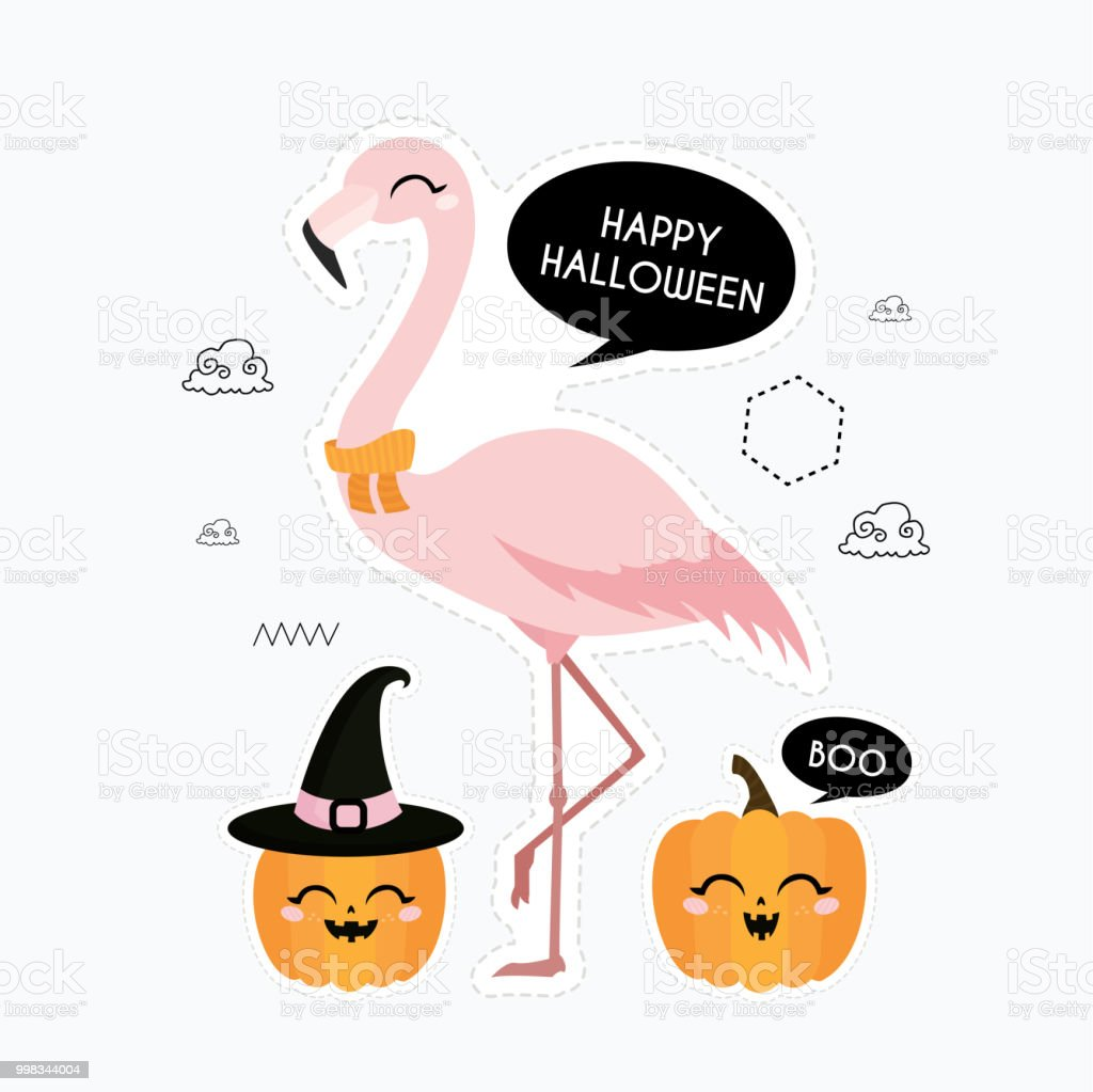 halloween card with flamingo stock vector art & more images of