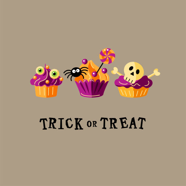 halloween card with funny cupcakes - halloween candy stock illustrations