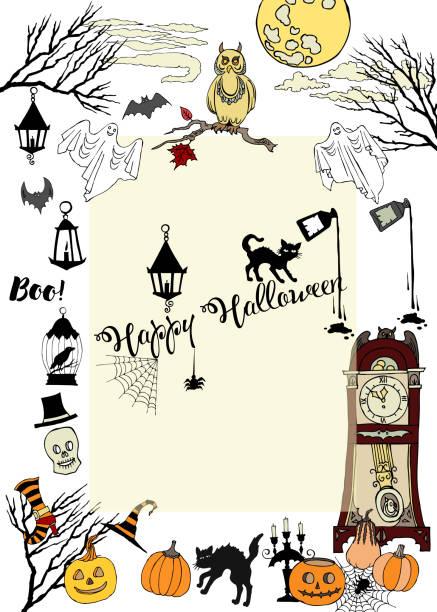 illustrations, cliparts, dessins animés et icônes de carte d'halloween avec des éléments dessinés à la main - cage animal nuit