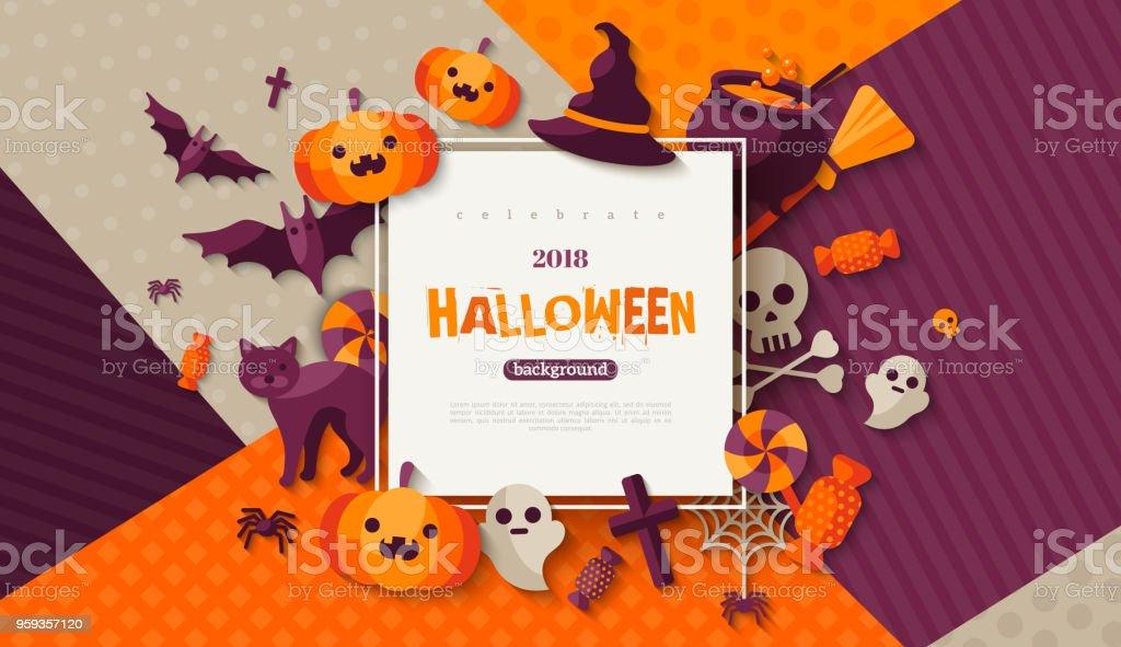 Halloweenkarte Mit Quadratischen Rahmen Stock Vektor Art und mehr ...