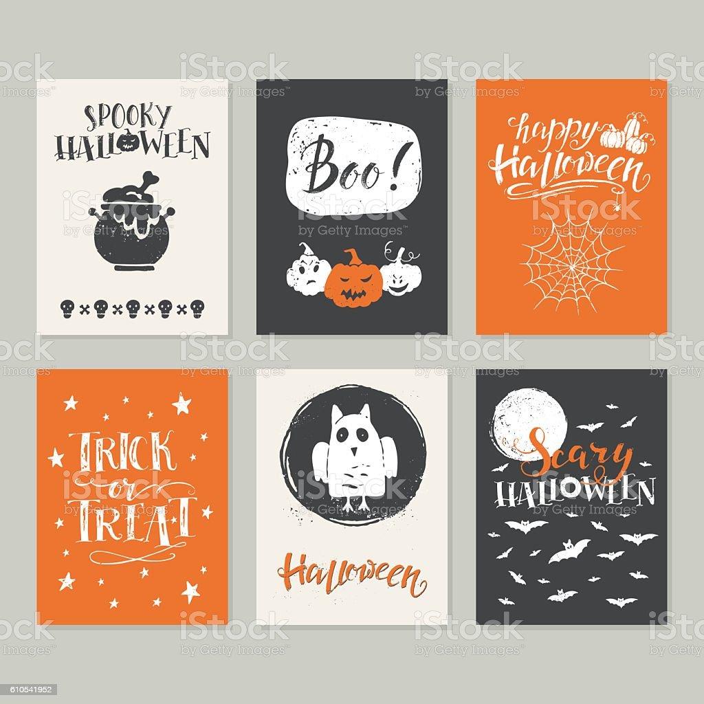 Halloween cards set vector art illustration