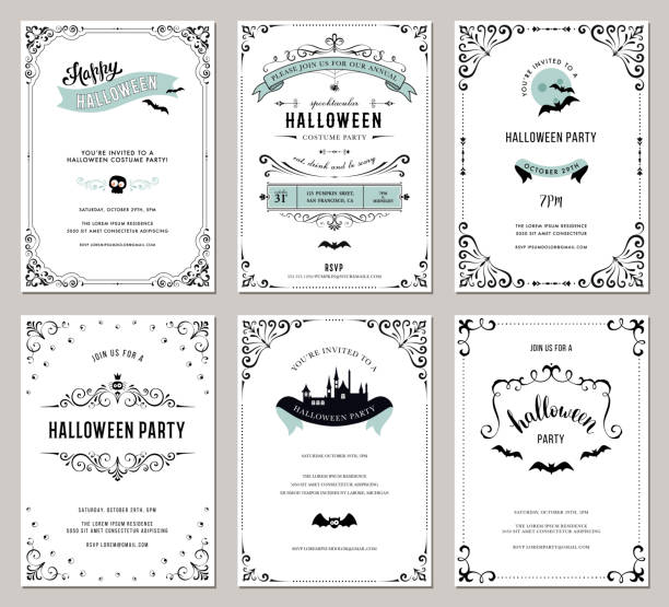 halloween cards_09 - halloween stock illustrations, clip art, cartoons, & icons