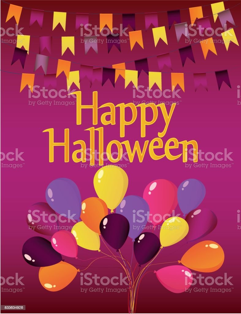 halloween carnival with flags garlands with balloons greeting card