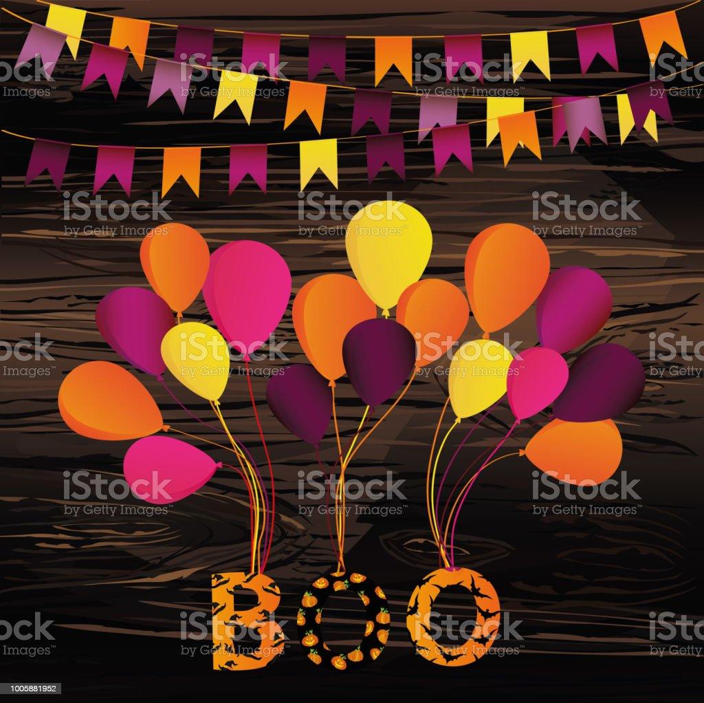 Ilustración De Carnaval De Halloween Con Banderas Guirnaldas